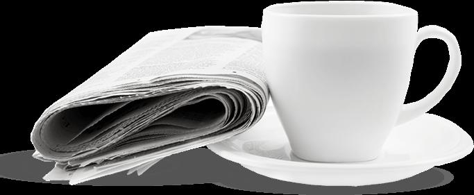 Mezoterapia - Biała filiżanka kawy z umieszczoną gazetą wyborczą po jej lewej stronie