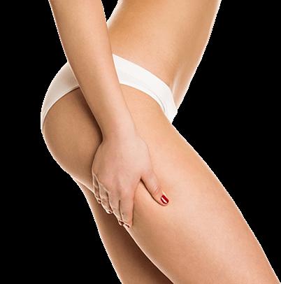 Mezoterapia - Perfekcyjnie wygładzone nogi kobiety widoczne z prawego profilu